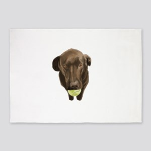 labrador retiever with a tennis ball 5'x7'Area Rug